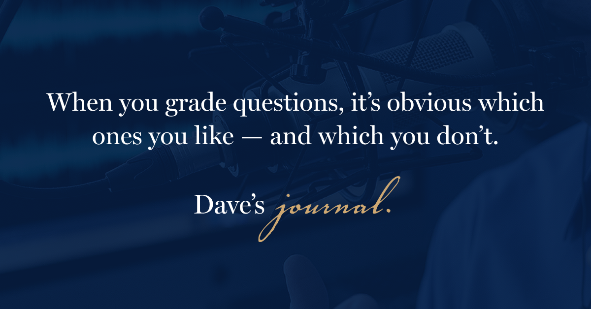 When you grade questions, it's obvious which ones you like — and which you don't.